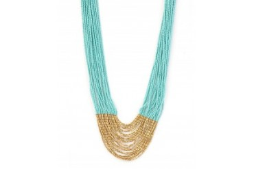 Aid Through Trade Tiered Hema Seed Bead Necklace Turquoise