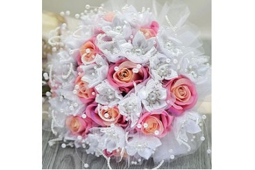 Cute Round Satin/Artificial Silk Bridal Bouquets (123053202)
