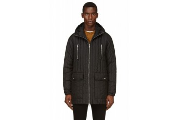 Dsquared2 Black Ribbed Quilted Parka