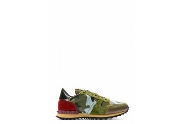 Valentino Camo Green And Read Low Top Sneakers