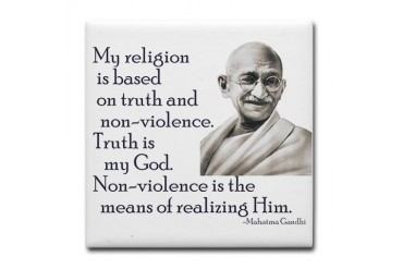 Gandhi quote - Truth is my Go Peace Tile Coaster by CafePress