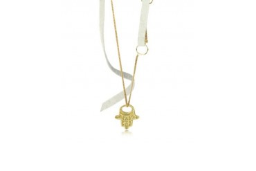 Fatima's Hand 18K Gold and Leather Necklace