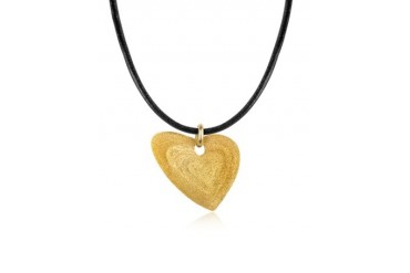 Etched Golden Silver Small Heart Pendant w/Leather Lace