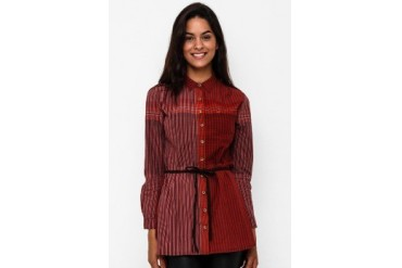 Triset Long Sleeve With Collar Blouse With Belt