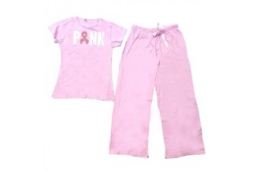 2-Piece Breast Cancer PJ Set - Pink or Grey