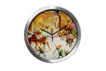 Santa's Elves at the North Pole Funny Modern Wall Clock by CafePress