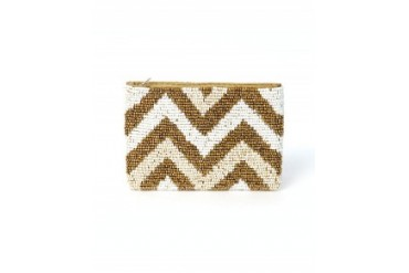 Pink House Chevron Coin Purse Brown