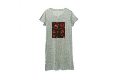 Red and Teal Geometric Floral Cute Women's Nightshirt by CafePress