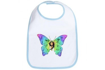 Baby is Nine - 9 Months? or 9 Years Old? Baby girl Bib by CafePress