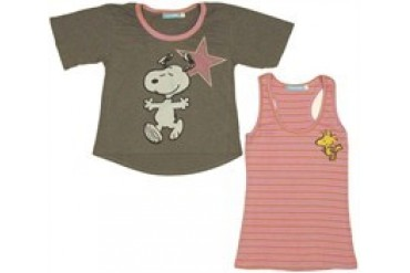 Peanuts Snoopy Woodstock Star Tank Top and Ladies Tee Combo by MIGHTY FINE