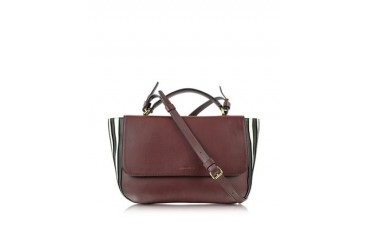 Lucien Mahogany Large Leather Flap Bag