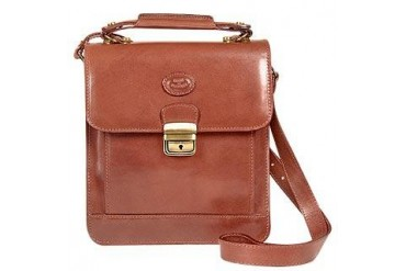 Brown Vegetable Tanned Leather Vertical Briefcase