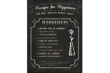 Recipe for Happiness Poster Print by Jennifer Pugh (9 x 12)