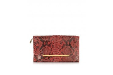 Python Leather Reversible Clutch