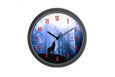 Timber Wolf - White Wolf Wolf Wall Clock by CafePress