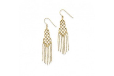 Diamond-cut Beaded Chandelier Earrings in 14 Karat Yellow Gold