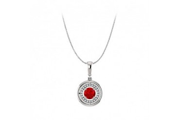 Round Ruby and CZ Pendant in 14K White Gold Free Chain