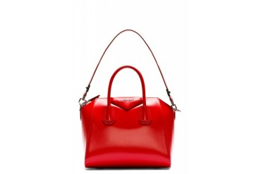 Givenchy Red Leather Antigona Small Duffle Bag