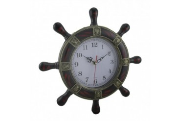 Striped Fleur De Lis Ships Wheel Wall Clock