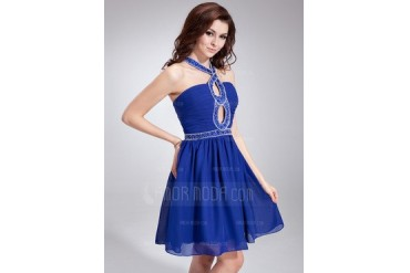 A-Line/Princess Halter Short/Mini Chiffon Homecoming Dress With Ruffle Beading (022020842)