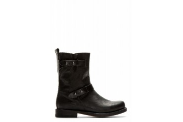 Rag And Bone Black Leather Textured Biker Boots