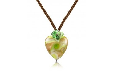 Vortice - Lime Murano Glass Swirling Heart Necklace
