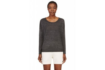 Rag And Bone Charcoal Linen Boxy Josie Sweater