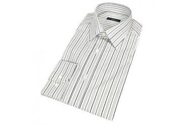 Elegant White & Gray Striped Cotton Dress Shirt
