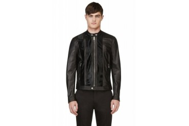 Dsquared2 Black Leather And Calf hair Biker Jacket