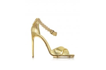 Golden Panther Leather Sandal