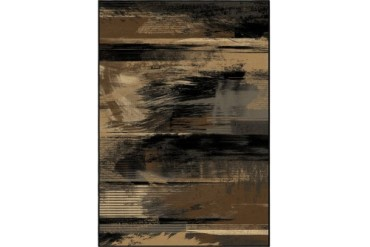 Orian American Heirloom Contemporary Black Striped Lines Feathers Area Rug