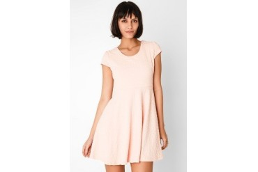 Chic Simple Cap S Heart Cut Out Flare Dress
