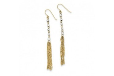 14 Karat Two-tone Gold Bead and Chain Tassel Earrings
