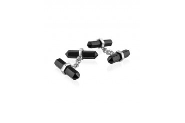 Double Sided Black Resin Silver Plated Cufflinks