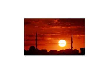 Red sunset scene with mosque and minarets Sticker Photography Sticker Rectangle by CafePress