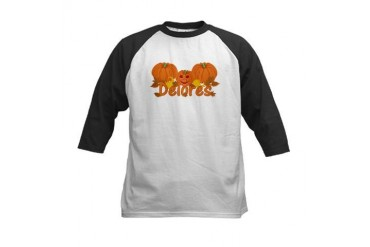 Halloween Pumpkin Delores Baby Kids Baseball Jersey by CafePress