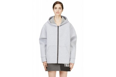 Msgm Heather Grey Neoprene Hoodie