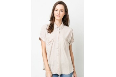 Ladies Woven Blouse with Drape Pockets