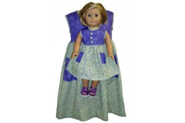 Matching Purple Calico Dresses Girls Dolls Size 4