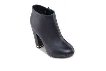 EZRA by ZALORA Pu Leather Booties With Metal Tip Chunky Heels
