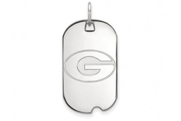 LogoArt Silver University Of Georgia Small Dog Tag Pendant Chain Included