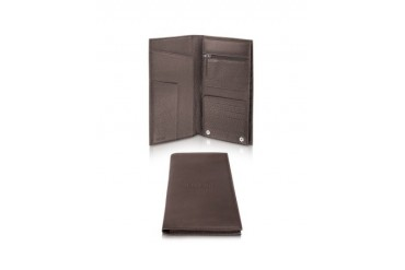 Honeycomb-Stamped Dark Brown Leather Billfold Wallet