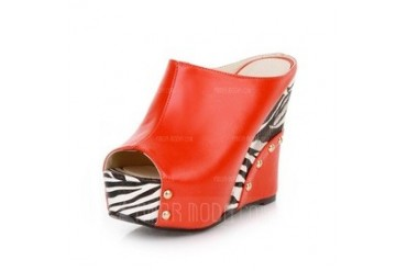 Leatherette Wedge Heel Sandals Slippers With Animal Print shoes (087044549)