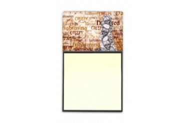 Creepy, Haunted and Frightful with skulls Halloween Refiillable Sticky Note