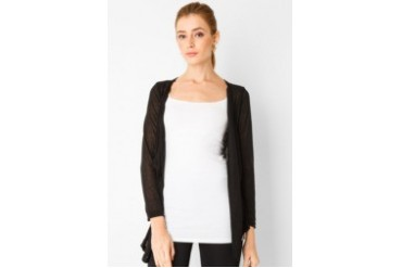 Chic Simple L/S Cardigan With Lace Detail At Back
