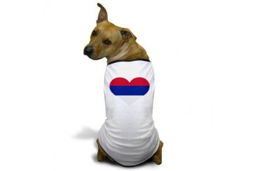 Serbia flag heart Flag Dog T-Shirt by CafePress
