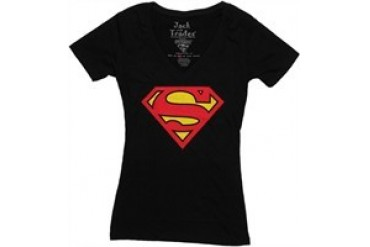 DC Comics Superman Shield Logo Black V Neck Jack of All Trades Baby Doll Tee