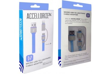 Accellorize Lightning Micro USB 3.3 Foot Combo Cable