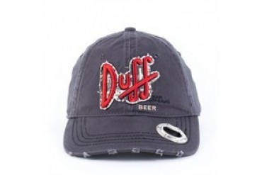 Simpsons Duff Beer Bottle Opener Embroidered Snap Closure Roughed-up Hat