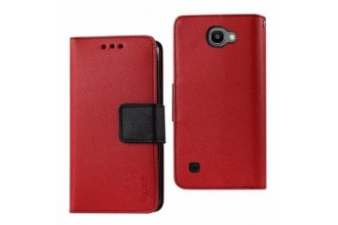 Lg Spree Wallet Case 3 In 1-red Leather Polymer And Stand Function